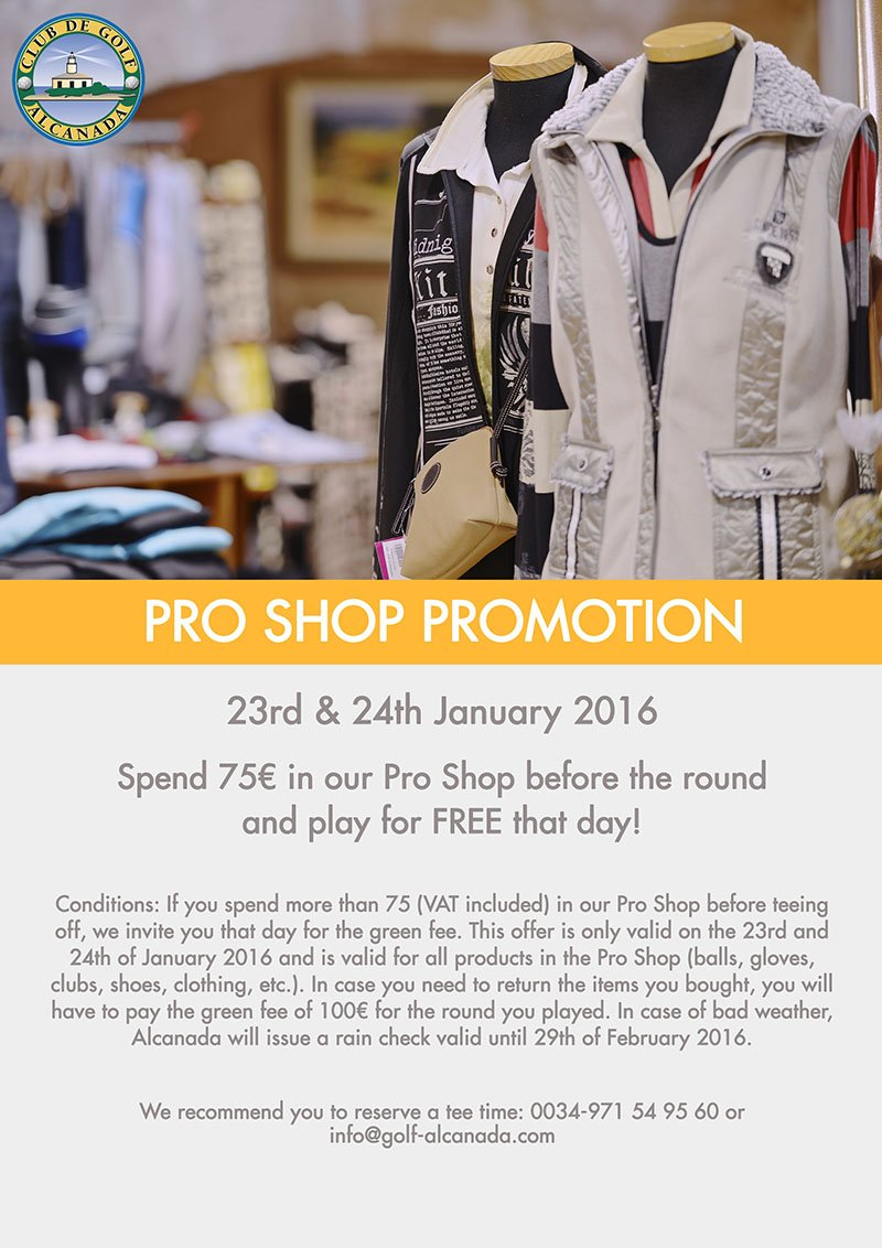 OUR PRO SHOP PROMOTION IS BACK!